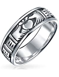 Antique Styled Finish Claddagh Band Sterling Silver Ring