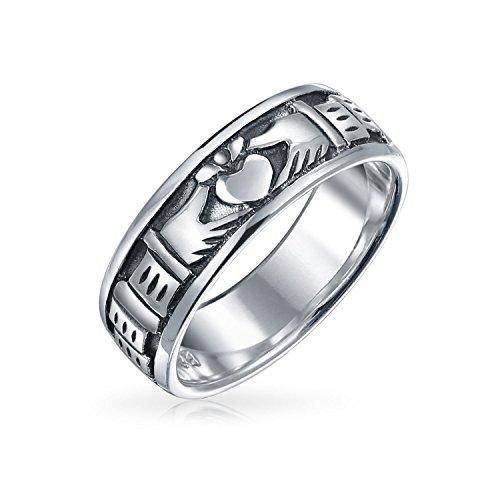 Keltische Irische Freundschaft Paare Claddagh Hochzeitsband Ring Für Herren Für Damen Sterling Silber Oxidiert (Irische Claddagh-ring Für Männer)