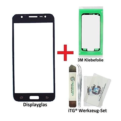 iTG® PREMIUM Displayglas Reparatur-Set für Samsung Galaxy J5 (2016) DUOS Schwarz - Oleophobic Front Display Glas für Modell SM-J510F + Vorgeschnittene 3M Klebefolie und iTG® Werkzeug-Set