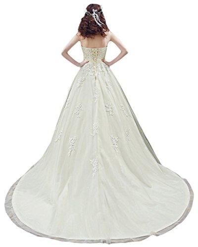 ivyd ressing Femme élégant motif dentelle traîne forme de cœur robe de mariée robe de mariée Ecru