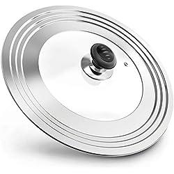 Magicfly Couvercle Universel Convenant aux Casseroles Poêles en Acier Inoxydable et Verre Trempé, Trou Vapeur Multi-Tailles Diamètre de 20 à 32 cm