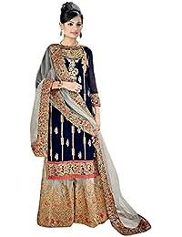 2c85aa08aaa MONIKA SILK MILL Women s Georgette Salwar Suit Material (MSMFShreeFab  6035 Blue Free Size)