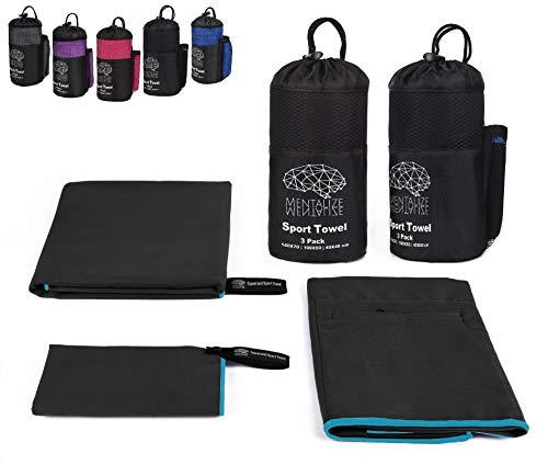 MENTALIZE® Fitness Microfaser Handtücher | 3er Mikrofaser Handtuchset | Badehandtuch | XXL Strandtuch | Reißverschluss-Tasche (Anthrazitschwarz - Turquoise, 40x40cm (ohne Tasche))