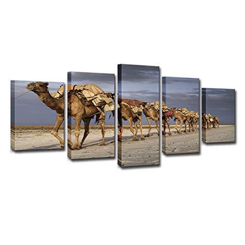ChuangYing 5 pièces d'art HD Impression Toile Stickers muraux Peinture à l'huile désert Chameau décoration de la Maison Stickers muraux
