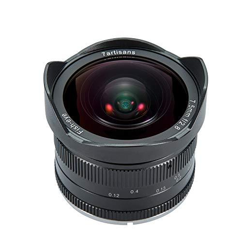 7artigiani 7.5mm F2.8fisheye obiettivo fisso APS-C grandangolare per fotocamere compatte mirrorless Panasonic micro 4/3MFT Mount G1G2G3G5G6g7GF1GF2GX1GM1GX7GM5gh1-black