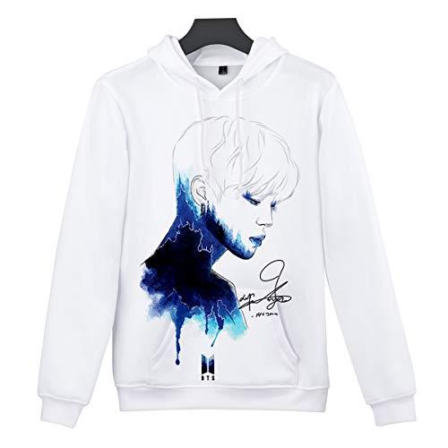SIMYJOY BTS Pullover DREI-D-Druck Hoodie Porträt Sweatshirts Kapuze Bangtan Boys Tops Coole Oberteile für Damen Männer Jungen G S - Fun Kids Sweatshirt
