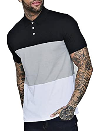 f2d49ee33d04e ... Helliot Classic Polo T Shirts for Men with Collar 3 Block Solid Regular  Fit Black