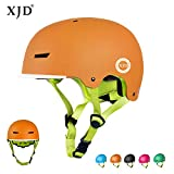 XJD Casco da Bici per Bambini Casco Protettivo Ideale per Bambini e Adolescenti Leggero ma più Sicuro Anche per Skateboard Monopattino Pattini a Rotelle Aggiorna 2.0 (Arancione, S)