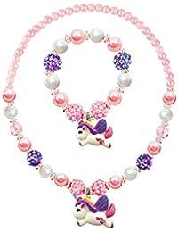 Glitter Pendentif Licorne Chunky Bubblegum Collier et Bracelet Ensemble Filles Cadeau