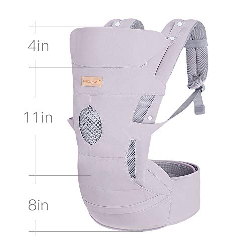 Baby Carrier with Adjustable Hip Seat&Hood for Infant to Toddler,Ergonomic & Convertible Waist Stool Wrap,Front and Back,for 3-36months-Light Grey  Haoqi Baby Company