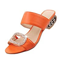VECDY Women Shoes, Leisure Water Crystal Square Low Heel Fish Mouth Sandals, Summer Fashion Wild Slippers Shoes, UK 3.5~8 Size(Orange,6.5)