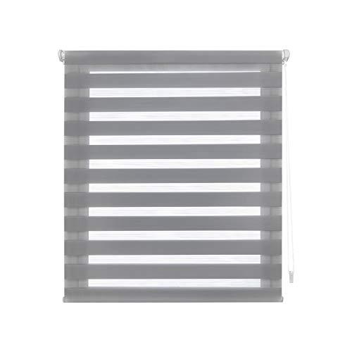 Blindecor Indus Estor Enrollable Doble Tejido Noche y Dia Easy Fix, Poliéster, Gris 107 X 180 cm
