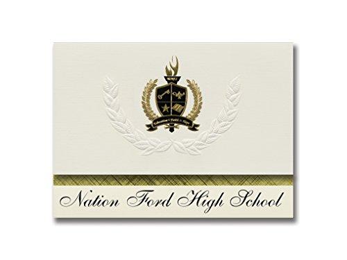 Signature Announcements Nation Ford High School (Fort Mill, SC) Abschlussankündigungen, Präsidential-Stil, Grundpaket mit 25 goldfarbenen und schwarzen metallischen Folienversiegelungen -