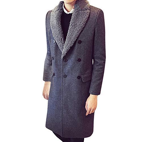 Cardigan uomo ashopmoda invernali lunga giubbotto giubbino giacca trench con gilet interno cappotto lungo doppio petto in lana da grigio x-large