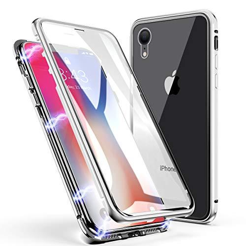 iPhone XR Hülle, ZHIKE Einteiliges Design magnetischer Adsorptionskasten Vollbildabdeckung Gehärtetes Glas Zurück mit eingebautem Magnetklappdeckel für Apple iPhone XR (Transparent Weiß) 2g Hard Case