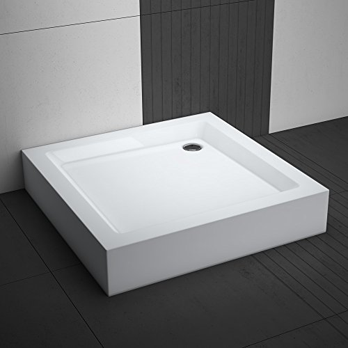 Duschwanne / Duschtasse Komplettset AQUABAD® NORMA | Maße: 80x80cm quadratisch | 3x Standfüße und einer Viega Domoplex Ablaufgarnitur