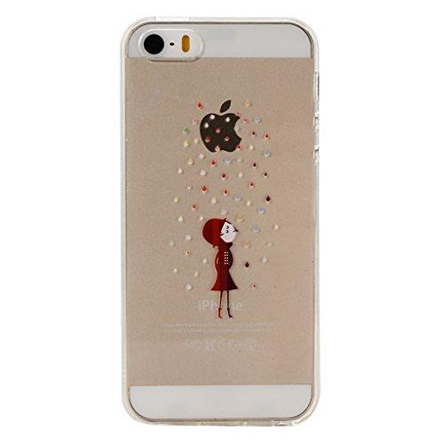 ZXLZKQ pour iPhone 5C Etui Transparent Casque à écouteurs Fleur Soft TPU Case Silicone bumper Housse Coque pour Apple iPhone 5C (non applicable iPhone 5 5S SE) WM31