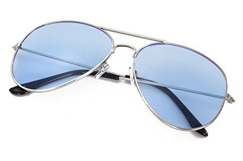 4sold Kinder Pilotenbrille mit Edelstahl Metall Gestell Sonnenbrille Unisex (Blau Transparent)