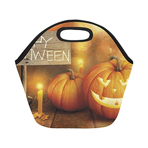 Isolierte Neopren-Lunch-Tasche Happy Halloween-Dekoration auf Glas Light Large Size Wiederverwendbare Thermo Dickes Mittagessen Tragetaschen Für Lunch-Boxen Für draußen, Arbeit, Büro, Schule