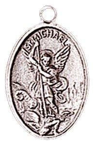 St Saint Michael Silver Coloured Metal Charm Medal Pendant, Chain & Box