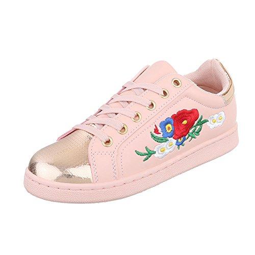 Low-Top Sneaker Damenschuhe Low-Top Sneakers Schnürsenkel Ital-Design  Freizeitschuhe Rosa 2018