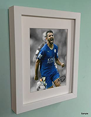 White Signed Riyad Mahrez Leicester City Autographed Photo Photograph Picture Frame