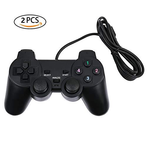 ANPI Controller da Gioco, Controller PC con Cavo USB, Doppia Vibrazione Joystick, Joypad per PC Windows XP 7 8 10, Nero