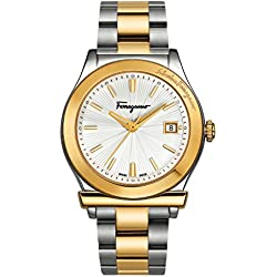 Salvatore Ferragamo 1898 Men's Quartz Watch with Silver Dial and Two Tone Bracelet FF3070014