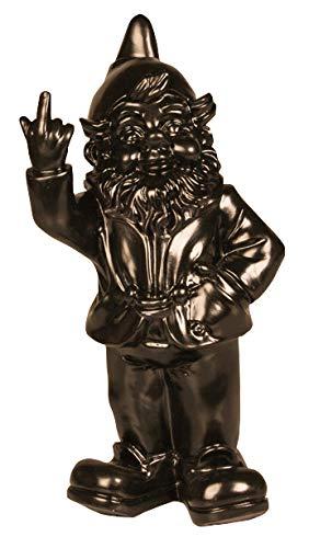 Figur Gartenzwerg mit Stinkefinger - für Haus & Garten - schwarz - 15 x 12 x 32 cm | Garten > Dekoration > Gartenzwerge | Stoobz