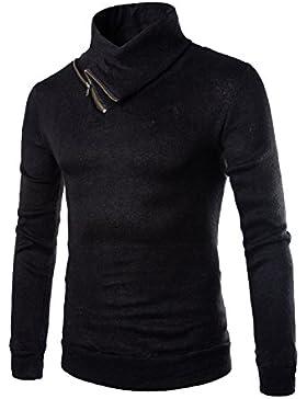 HY-Sweater Men 's Fashion Casual Chandail de Color Sólido Semi-Slim High Collar, Negro, Medium
