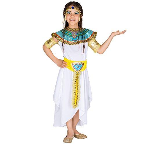Mädchenkostüm kleine Pharaonin | Langes Kleid mit traumhaftem Gürtel | inkl. 2 goldene Armstulpen + Haarband mit Strasssteinen (5-7 Jahre | Nr. 300375)