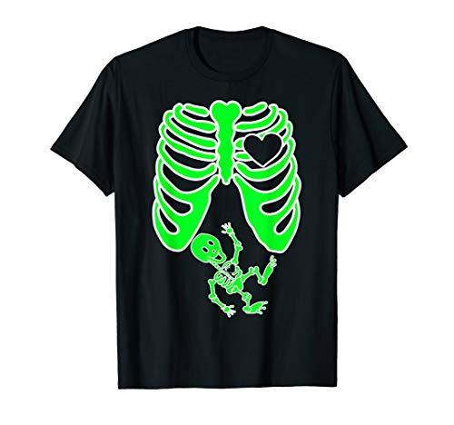 Kostüm Skelett Familie - Schwangere Röntgen-Skelett Baby Kostüm Mutter Halloween T-Shirt