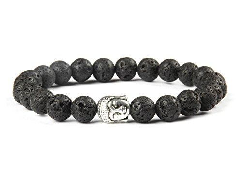GOOD.designs Buddhismus Perlenarmband aus echten Natursteinen und edler Buddha-Kopf Perle, Chakra-Schmuck für Damen und Herren, Yoga-bracelet (Schwarze Lava)