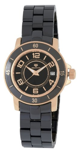 Wellington Ladies Quartz Watch with Black Dial Analogue Display and Black Ceramic Bracelet WN106-322