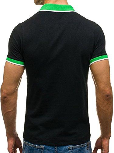 BOLF �?Maglietta �?Polo �?Maniche corte �?Slim fit �?T-shirt �?Motivo �?Uomo [3C3] Nero