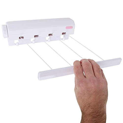 Home-x Automatische 4Line aufrollbares ausziehbare Wäscheleine | Kleidung Trockner mit 4Bonus Haken Zum Aufhängen-Sofort Fügt 40Füße Platz zu Trocknen (4Zeilen je 10Füße)