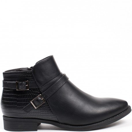 Ideal Shoes - Bottines basses en similicuir avec partie effet reptile Dalanda Noir