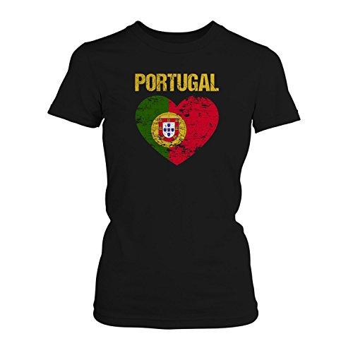 Fashionalarm Damen T-Shirt - Portugal Herz Flagge | 2018 Fan Shirt Trikot Fußball Weltmeisterschaft WM, Farbe:Schwarz;Größe:XL