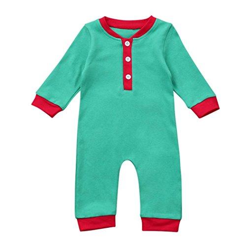 Baby Daunenoverall Walkoverall Hirolan Neugeborenen Jacke Weihnachten Kleinkind Baby Jungen Mädchen Weich Strampelhöschen Lange Ärmel Overall Baumwolle Outfits Kleider (70, Grün)