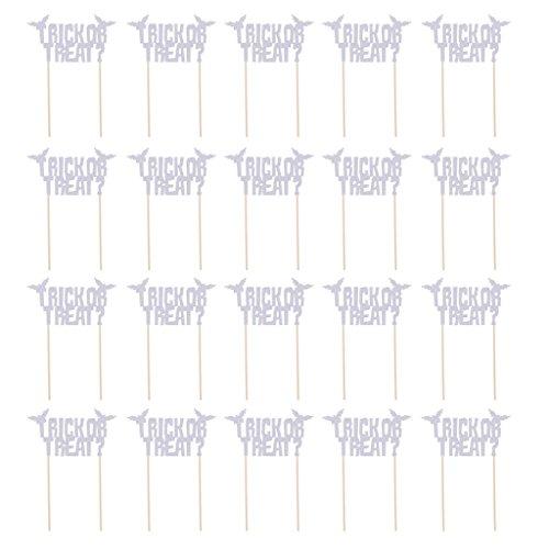 P PRETTYIA 20stk. Kuchendekoration Cupcake Topper Tortenstecker Muffin Picker Cocktail Dekoration Party und Halloween Zubehör - Silber, 14 x 8cm