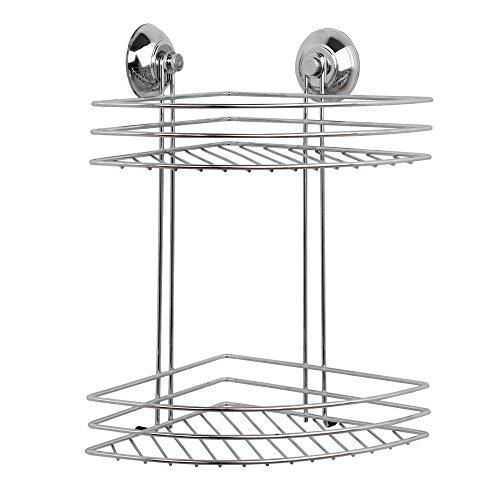 Beldray LA036254 Bathroom 2 Tier Corner Suction Shower Basket, Chrome