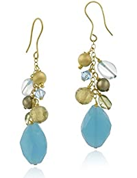 18K Gold over Silver Cluster of Satin, Green Crystal, Blue Quartz, Peridot Beads w/ Dangling Blue Quartz Stone Necklace