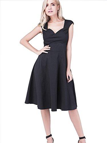 iLover Rockabilly évasé robes d'Audrey style rétro Prom Soirée cocktail millésime 1950 Black