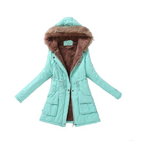 Ghope Herbst Winter Mantel Damen mit Pelz kapuze Lady fit Parka Jacke warm Vlies 15 Farbe Grün