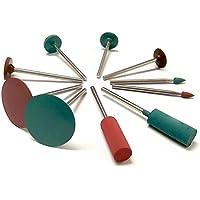 cnmade Gummi Polieren Grat Bits Rotary Tools Zubehör Emery Polish Rad 2,35mm Schaft Durchmesser passend für Dremel–Metall, Glas, Stein, Fliesen 10Stück
