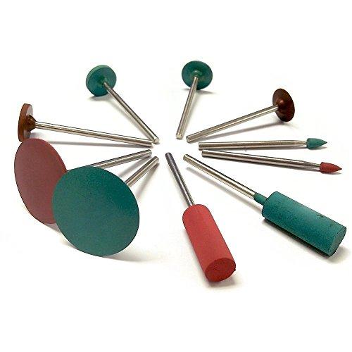 cnmade Gummi Polieren Grat Bits Rotary Tools Zubehör Emery Polish Rad 2,35mm Schaft Durchmesser passend für Dremel–Metall, Glas, Stein, Fliesen 10Stück (Glas Emery)