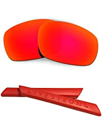 HKUCO Red Polarized Replacement Lenses plus Red Earsocks Rubber Kit For Oakley Racing Jacket