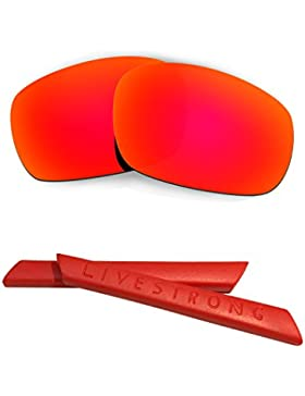 HKUCO Red Polarized Replacement Lenses plus Red Earsocks Rubber Kit For Oakley Jawbone