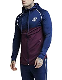 Sik Silk Chaqueta Zonal Zip Through Track Top – Burgundy & Navy