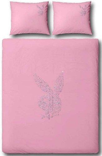 Playboy 8715944054232 Bettwäsche - Strass Classic 155 x 220 cm und 80 x 80 cm, Polyester Microfaser rosa (pink)